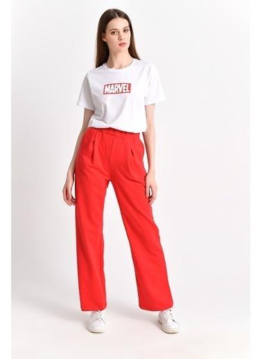 Cottonmood 9292933 Ikiiplik Cepli Bol Paça Pantolon Gri Melanj Kırmızı